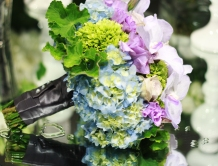 Bridal bouquet with lisianthus, hydrangea and roses