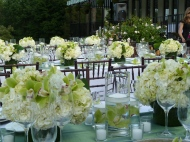 Floating candles and centerpieces
