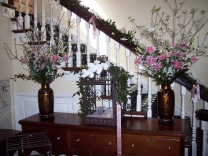 Foyer and staircase flowers