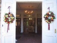 Wreaths for wedding ceremony doors